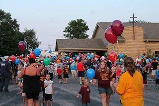 Balloon release in honor of Derek